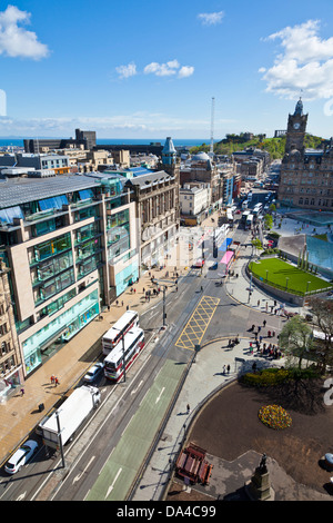 View of busy traffic on Princes street looking towards Calton Hill Edinburgh city centre Edinburgh Midlothian Scotland - Stock Photo