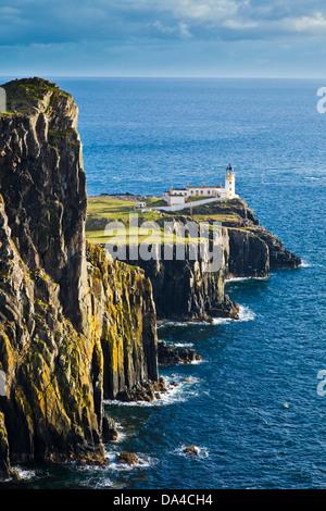 Neist Point and Lighthouse Isle of Skye Highland and Islands Scotland UK GB EU Europe - Stock Photo