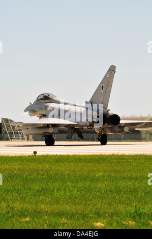 Eurofighter Typhoon aircraft of 11 squadron waiting to take off from RAF Coningsby - Stock Photo