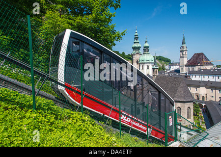 The Festungsbahn funicular going to Hohensalzburg fortress - Stock Photo