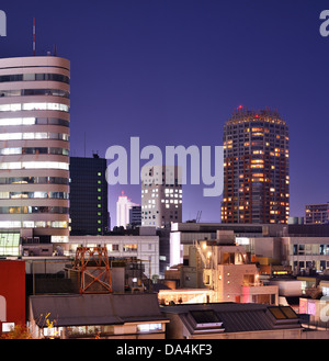Cityscape in Ebisu district of Tokyo, Japan at night. - Stock Photo