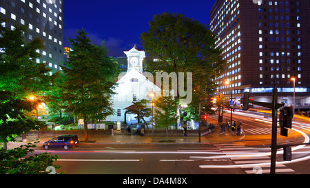 Sapporo cityscape at the Clock Tower. - Stock Photo
