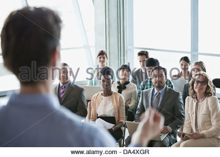 Group of business people at presentation in office building - Stock Photo