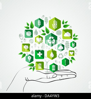 Green concept icons circle over palm design. Vector file layered for easy manipulation and custom coloring. - Stock Photo