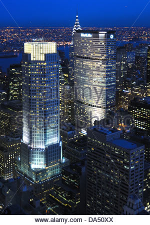 Aerial view of the Met Life Building and the JP Morgan Building in New York City, Manhattan. - Stock Photo