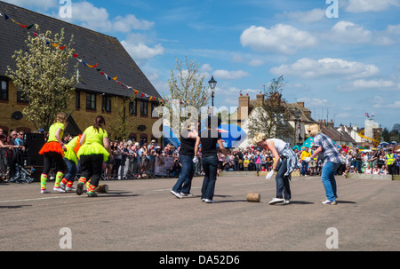 Stilton village annual May day cheese rolling contest - Stock Photo