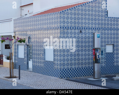 modern house completely clad in traditional azulejos tiles in Cabanas de Tavira, Algarve, Portugal - Stock Photo