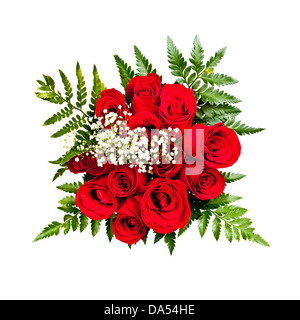 Bouquet of a dozen red roses from above on white background - Stock Photo