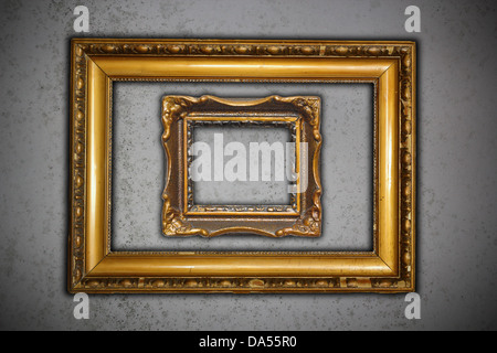ancient wooden frames on rusty metal wall background Stock Photo ...