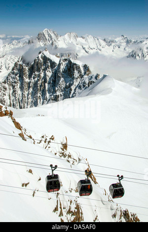 On the summit of the Aiguille du Midi, Chamonix Mont Blanc, France, cable-car - Stock Photo