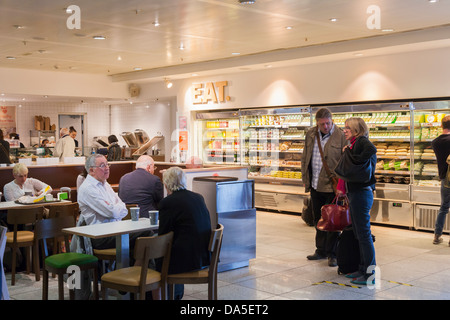 Fast food restaurants in the departure lounge ar Gatwick Airport - Stock Photo