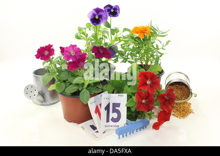 a bucket of slow release fertilizer in front of white background - Stock Photo