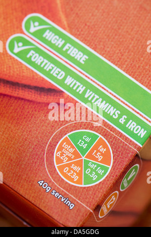 Sainsburys traffic light labelling on food packaging - Stock Photo