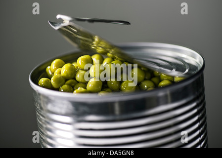 A tin can with the lid open. Peas can be seen. - Stock Photo