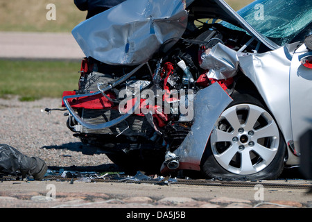 crash test motor car in serious accident - Stock Photo