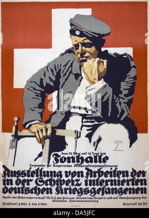 First World War, WWI, World War I, world war, war, Europe, propaganda, poster, Germany, Europe, German, propaganda - Stock Photo