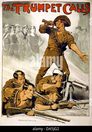 First World War, WWI, World War I, world war, war, Europe, propaganda, poster, Australia, Australian, propaganda - Stock Photo