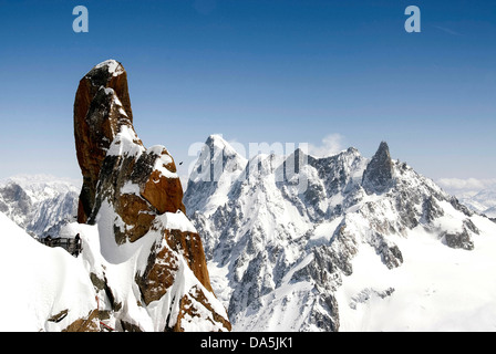 View from the summit of the Aiguille du Midi, Chamonix Mont Blanc, France, cable-car - Stock Photo
