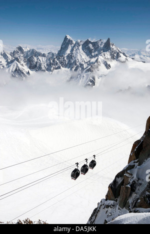 Cable cars near the summit of the Aiguille du Midi, Chamonix Mont Blanc, France, cable-car - Stock Photo