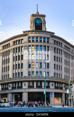 Japan, Asia, Tokyo, City, Ginza, District, Wako, Building, architecture, building, crossing, famous, Ginza, harumi, - Stock Photo