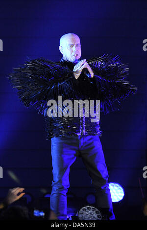 Singer of the British pop music duo Pet Shop Boys, Neil Tennant, is pictured during a concert, which is part of - Stock Photo