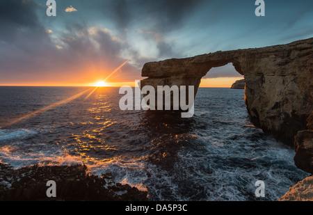 Azure Window, Gozo, Malta sunset - Stock Photo