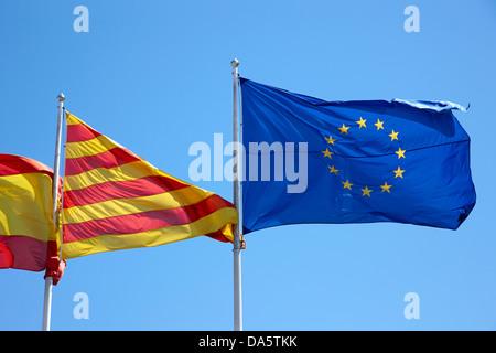 catalan and eu flags flying catalonia spain - Stock Photo