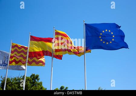tarragona spanish catalan and eu flags flying catalonia spain - Stock Photo