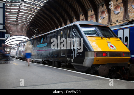 Class 91110 'BBMF' Battle Of Britain Memorial Flight livery electric locomotive trains at York Station, UK - Stock Photo