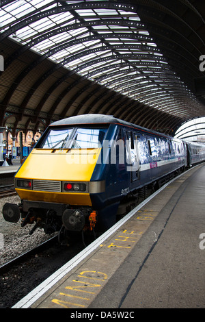 'Mind the Step' British Rail Class 91113 electric locomotive at York Station, Yorkshire, UK - Stock Photo