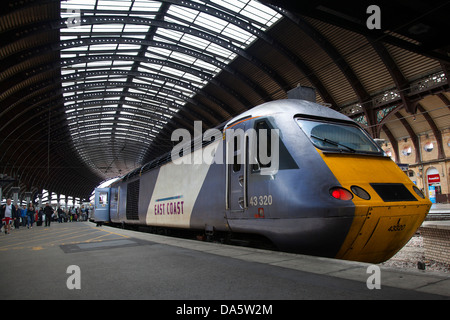 East Coast Trains 43320 Diesel Locomotive main-line railway station in the city of York, Yorkshire, England, UK - Stock Photo