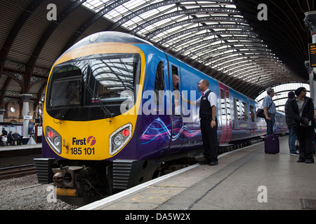 First rail transport 185101 at main-line railway station in the city of York, Yorkshire, England, UK - Stock Photo