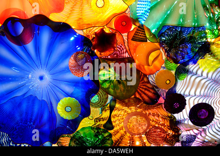 Art glasses by Dale Chihuly in display. Chihuly Garden and Glass, Seattle, Washington, USA. - Stock Photo