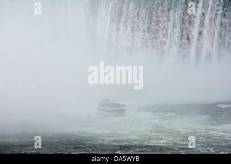 American Falls, Canada, Maid of the Mist, Niagara Falls, water, Niagara River, Ontario, Tour boat, Travel, boat, - Stock Photo