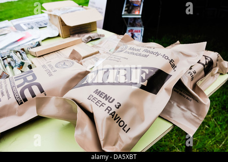 US Army American soldier field rations MRE (Meal, Ready to Eat)- beef ravioli - Stock Photo