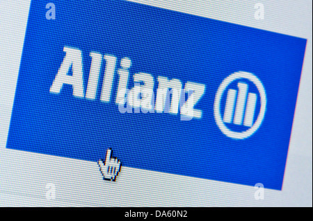 Close up of the Allianz logo as seen on its website. (Editorial use only: print, TV, e-book and editorial website). - Stock Photo