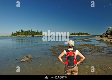 Canada, Parc Nacional du Bic, Quebec, Trees, backpacking, horizontal, island, National Park, sight seeing, summer, - Stock Photo
