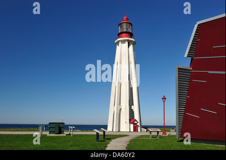 Canada, Lighthouse, Pointe au Pere, Rimouski, architecture, daytime, red, summer, Quebec, building, inclined - Stock Photo