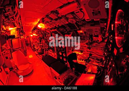 Onondaga, Submarine, Pointe au Pere, Rimouski, Canada, Quebec, historical, Navy, miltary, interior, narrow, red, - Stock Photo