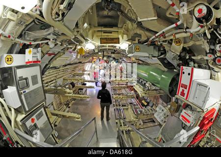 Onondaga, Submarine, Pointe au Pere, Rimouski, Canada, Quebec, historical, Navy, miltary, interior, narrow, - Stock Photo