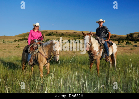 Pacific Northwest, Oregon, USA, United States, America, riding, horseback, sport, horse, ranch, cowboy, cowgirl, - Stock Photo