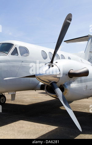 Turboprop engine which drives the aircraft propeller on a vintage military airplane. - Stock Photo