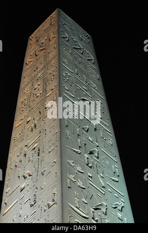 Huge obelisk at night at the Luxor Temple in Egypt - Stock Photo