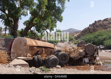 Traffic, accident, casualty, Djibouti, Africa, truck, tip, rusty - Stock Photo