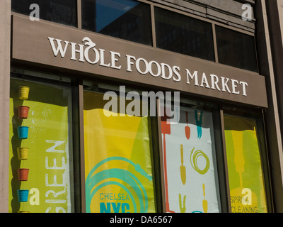 Outdoor Sign, Whole Foods Market in Chelsea, NYC - Stock Photo