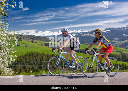 Cyclist, biker, Toggenburg, spring, bicycle, bicycles, bike, riding a bicycle, canton, SG, St. Gallen, Churfirsten, - Stock Photo