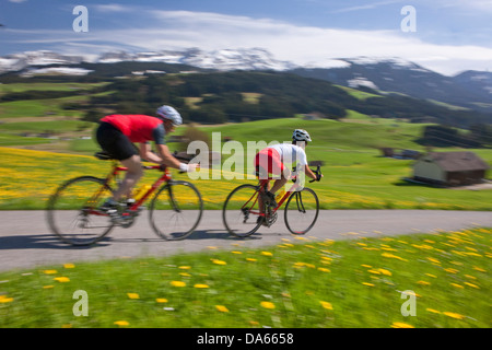 Cyclist, biker, Appenzell area, spring, bicycle, bicycles, bike, riding a bicycle, canton, Appenzell, Innerroden, - Stock Photo