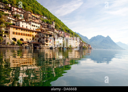 Gandria, canton, TI, Ticino, South Switzerland, water, lake, lakes, village, Switzerland, Europe, Lake Lugano, - Stock Photo