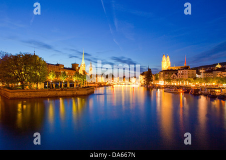 Zurich, Grossmünster, Limmat, river, flow, brook, body of water, water, building, construction, churches, religion, - Stock Photo