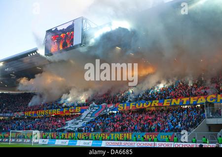 Fireworks, Stade de Suisse, stadium, Cup-final, canton, Bern, arrangement, football, soccer, spectator, smoke, fans, - Stock Photo